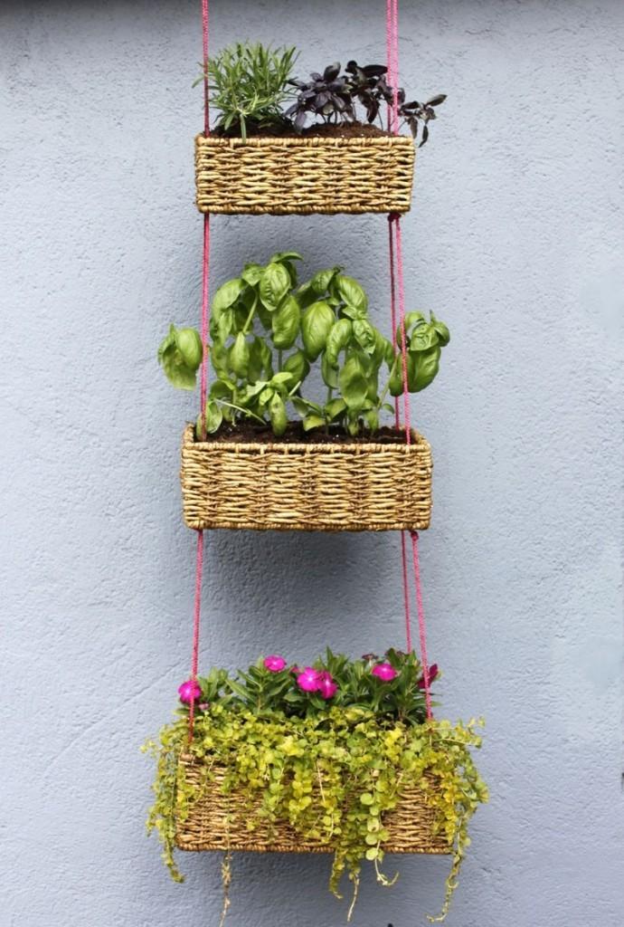DIY vertical hanging basket garden