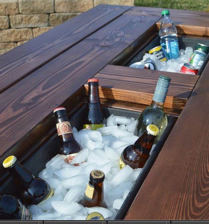 Awesome diy patio table with built in beverage cooler for Domesticated engineer table