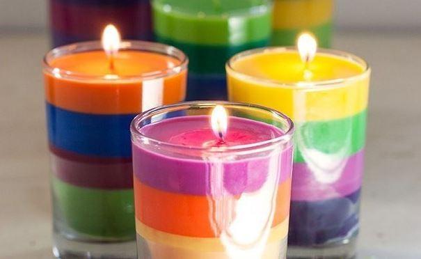 diy rainbow crayon candles