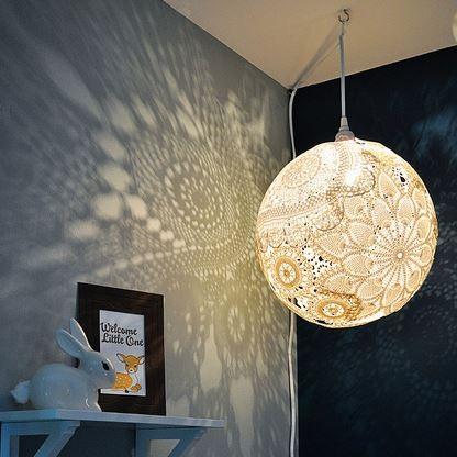 Dazzling diy doily lantern tutorial for Doily light fixture