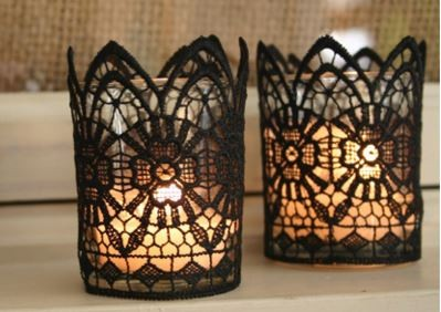 black lace halloween candles