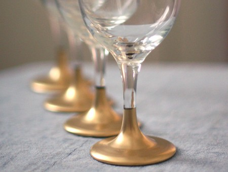 gold painted wine glasses