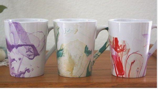 diy marbled watercolor coffee mug