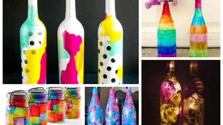 Colorful Tissue Paper Decoupage Bottles \u0026 Jars
