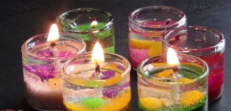 mini gel sand candles