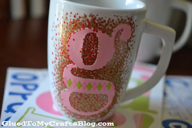 monogrammed confetti mugs