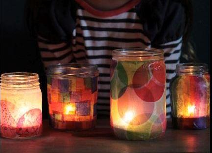 tissue paper jar lanterns