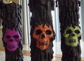 glitter skull halloween candles