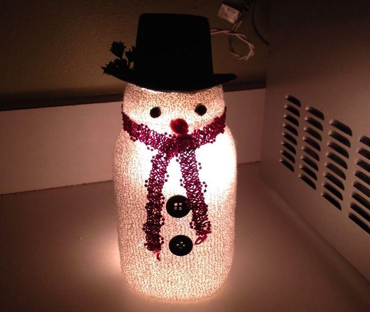 Adorable Lighted Diy Mason Jar Snowman