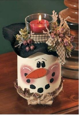 snowman candle holder