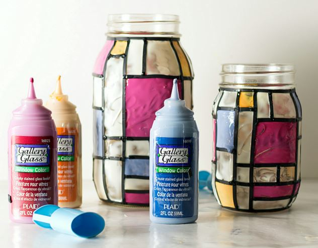 stained glass mason jars