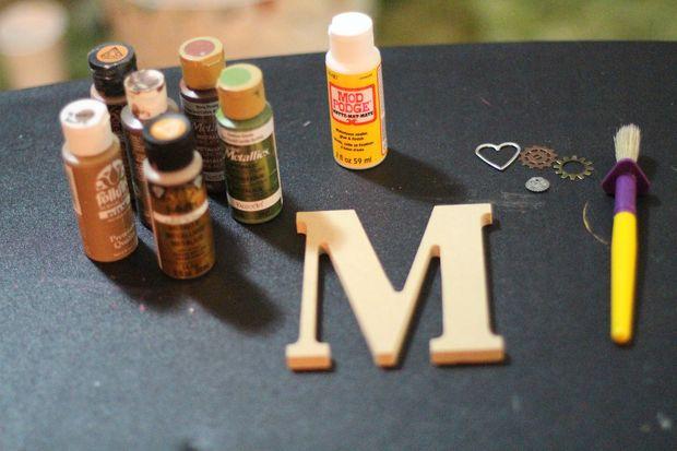 steampunk monogram letter