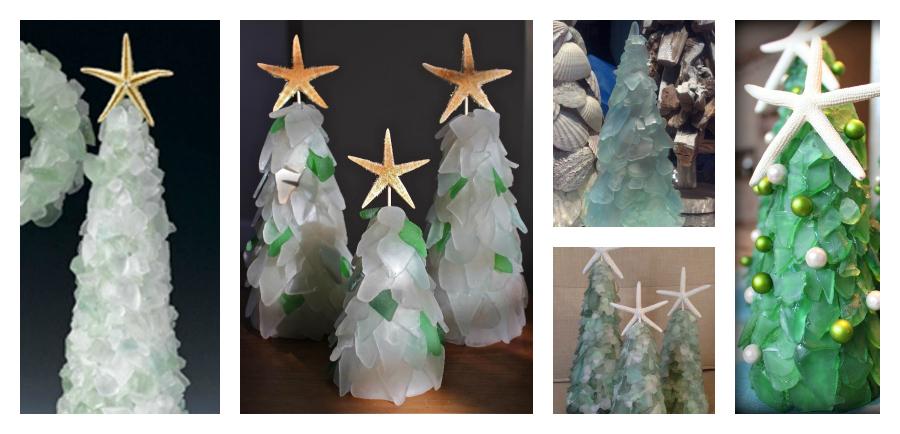 diy sea glass christmas trees