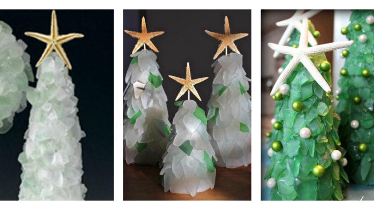 Festive diy sea glass christmas trees