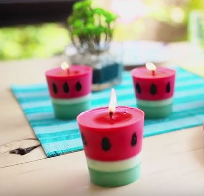 diy watermelon candles