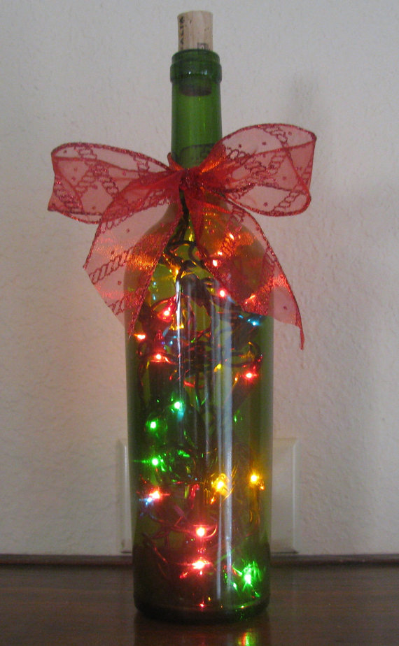 26 recycled wine bottle christmas light luminaries for Eco christmas lights