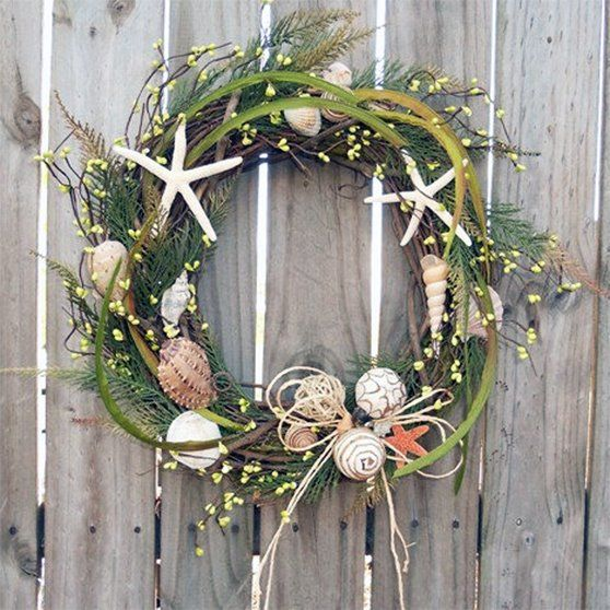 Collection of 20 beach inspired christmas craft ideas for Seashell wreath craft ideas