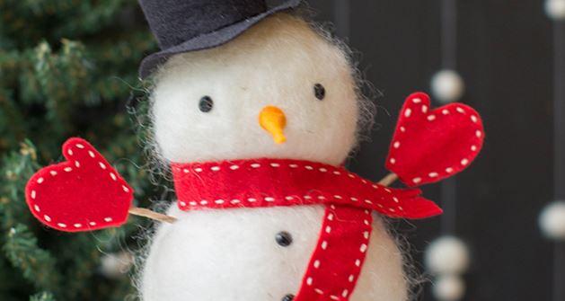 diy needle felted snowman