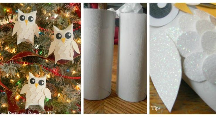How to make snowy glitter owl ornaments for How to make a tree out of toilet paper rolls