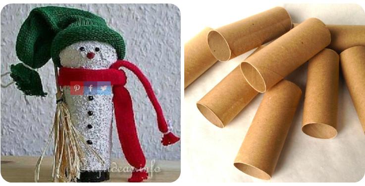 paper tube snowman