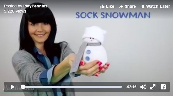 sock snowman video tutorial
