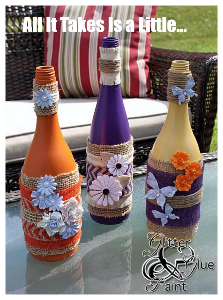 tiki wine bottles from glitterglueandpaint.com