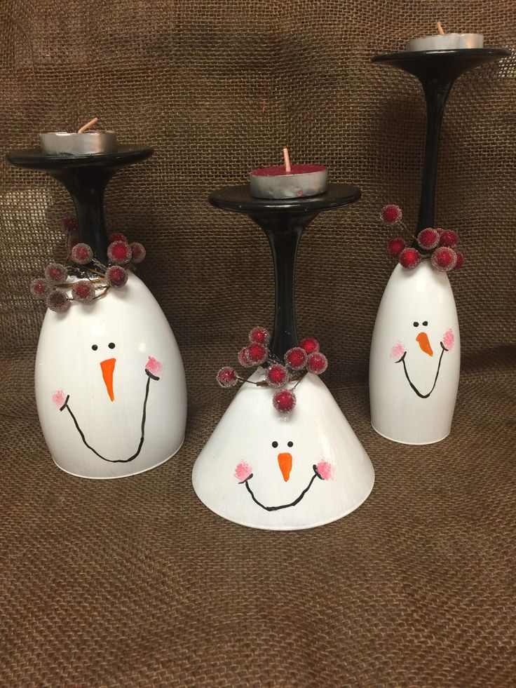 25 gorgeous snowman wine glass candle holders for Holiday wine glass crafts