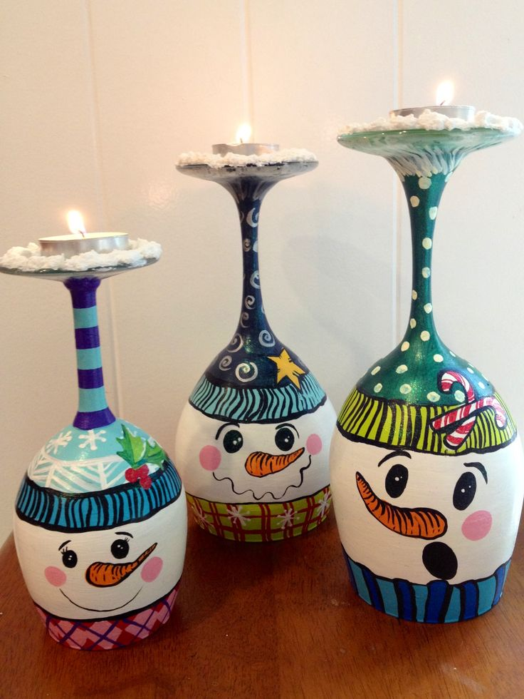 25 gorgeous snowman wine glass candle holders for What paint do you use to paint wine glasses