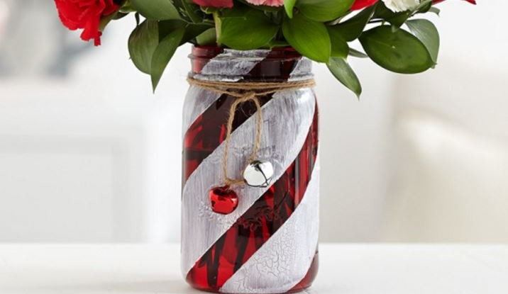 How To Make A Festive Candy Cane Mason Jar Vase