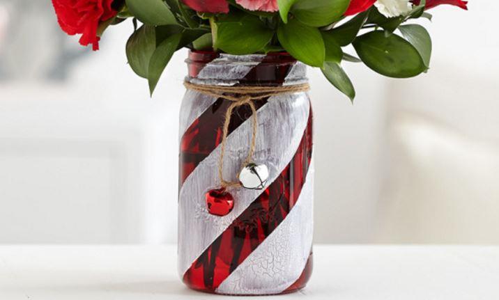 How To Make A Festive Candy Cane Mason Jar Vase