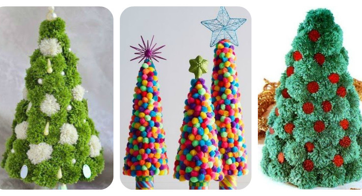 These Colorful Pom Pom Christmas Trees Will Make You SMILE!